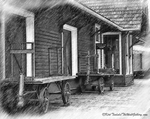 The Caboose and Train Station Platform - Black and White Sketches
